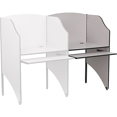 Flash Furniture Add-On Study Carrel, Nebula Grey