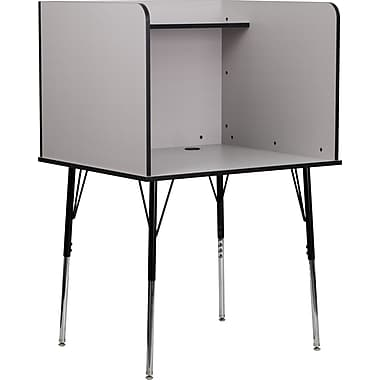Flash Furniture Study Carrel with Adjustable Legs and Top Shelf, Nebula Grey