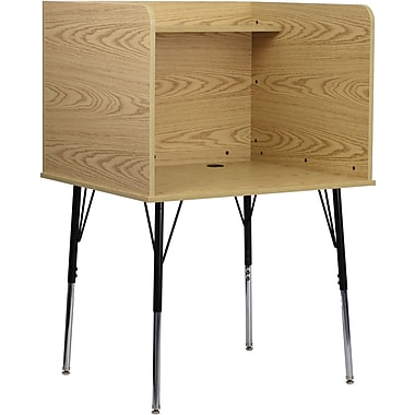 Flash Furniture Study Carrel with Adjustable Legs and Top Shelf, Oak