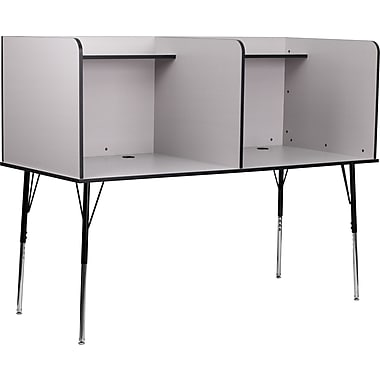 Flash Furniture Double Wide Study Carrels with Adjustable Legs and Top Shelf, Gray