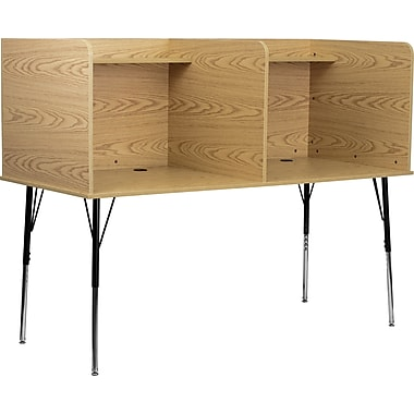 Flash Furniture Double Wide Study Carrels with Adjustable Legs and Top Shelf