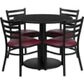 Flash Furniture 36'' Round Black Laminate Table Set with Round Base and 4 Ladder Back Metal Chairs, Burgundy Vinyl Seat