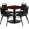 Flash Furniture 36'' Square Mahogany Laminate Table Set with Chair, Black and Mahogany