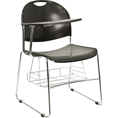 Flash Furniture High Density Plastic Chair with Book Basket and Chrome Frame, Right Handed Flip-Up Tablet Arm, Black