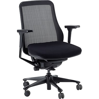 Raynor Eurotech Symbian Fabric Seat/Mesh Mid Back Manager's Chair, Black