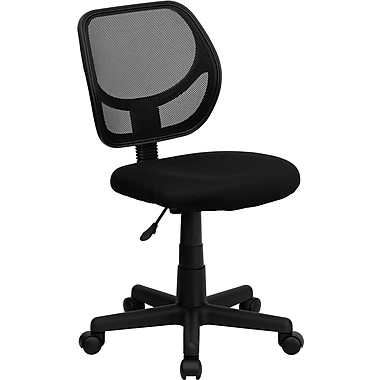 Flash Furniture WA-3074BK Mesh Mid-Back Armless Task Chair, Black