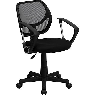 Flash Furniture Fabric Mid-Back Task Chair with Capped Arm, Black