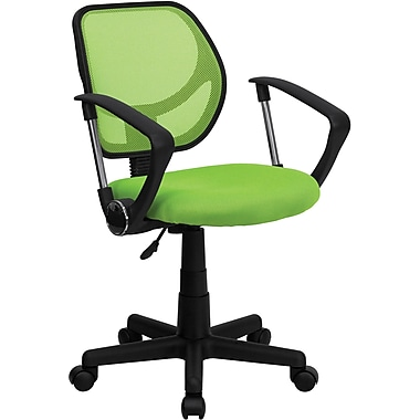 Flash Furniture Mid-Back Mesh Task Chair, Fixed Arms, Green