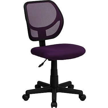 Flash Furniture WA-3074-PUR-GG Mesh Mid-Back Armless Task Chair, Purple