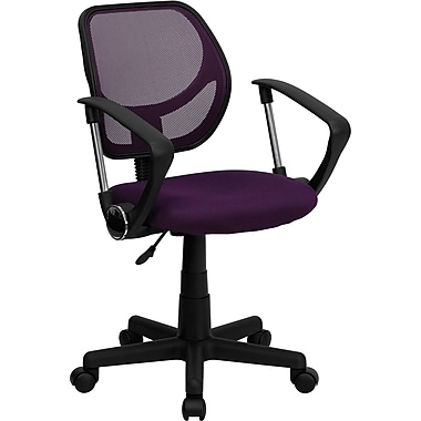 Flash Furniture WA-3074-PUR-A-GG Mesh Mid-Back Task Chair with Fixed Arms, Purple