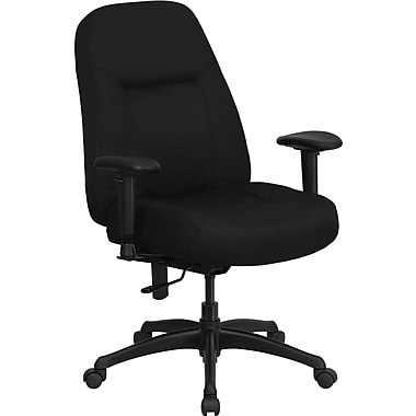 Flash Furniture Hercules™ Fabric Office Chair with Height Adjustable Arm and Extra Wide Seat,Black