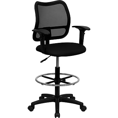 Flash Furniture Mesh Fabric Mid Back Drafting Stool with Arm, Black