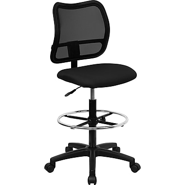 Flash Furniture Mid Back Mesh Drafting Stool, Black