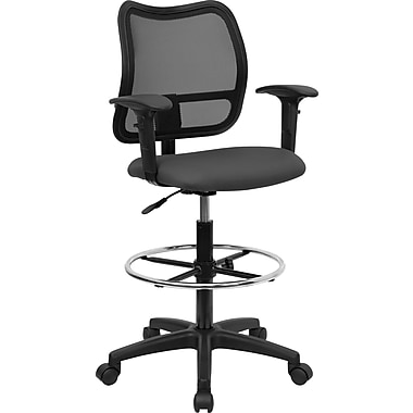 Flash Furniture Mid Back Mesh Drafting Stool with Arm, Gray