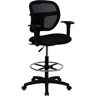 Flash Furniture Mid-Back Multi-Functional Mesh Drafting Stool with Arms, Black
