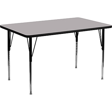 Flash Furniture 24''W x 48''L Rectangle Activity Table with Thermal Fused Laminate Top and Standard Height Adjustable Legs, Grey