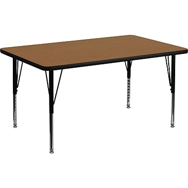 Flash Furniture 30'' W x 48'' L Rectangular Activity Table, 16 Gauge Tubular Steel, Oak