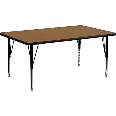 Flash Furniture 16 1/8in. - 25 1/8H x 30W x 72D 16 Gauge Tubular Steel Rectangular Activity Table, Oak
