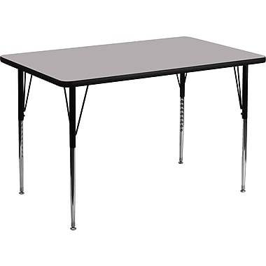 Flash Furniture 36''W x 72''L Rectangle Activity Table with Thermal Fused Laminate Top and Standard Height Adjustable Legs, Grey