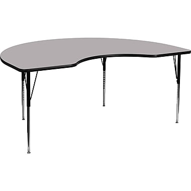 Flash Furniture 48''W x 96''L Kidney Shaped Activity Table with Thermal Fused Top and Standard Height Adjustable Legs, Grey