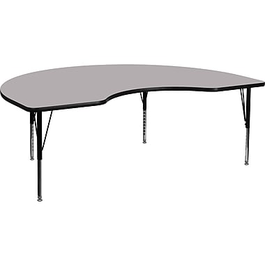 Flash Furniture 16 1/8'' - 25 1/8'' H x 48in. W x 96in. D Steel Kidney Shaped Activity Table, Gray