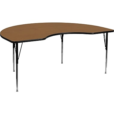 Flash Furniture 21 1/8'' - 30 1/8'' H x 48in. W x 96in. D Steel Kidney Shaped Activity Table, Oak