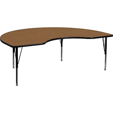 Flash Furniture 16 1/8'' - 25 1/8'' H x 48in. W x 96in. D Steel Kidney Shaped Activity Table, Oak