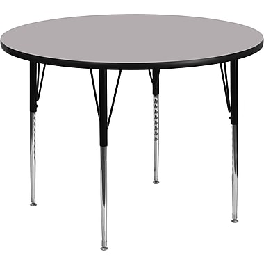 Flash Furniture 48'' Round Activity Table with Thermal Fused Laminate Top and Standard Height Adjustable Legs, Grey