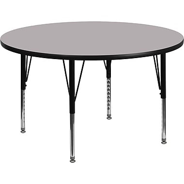 Flash Furniture 48'' Round Activity Table with Thermal Fused Laminate Top and Height Adjustable Pre-School Legs, Grey