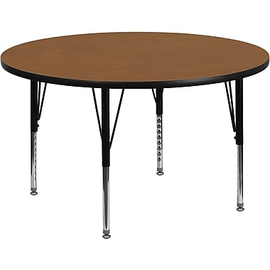 Flash Furniture 16 1/8'' - 25 1/8'' H x 48'' W x 48'' D Steel Round Activity Table, Oak