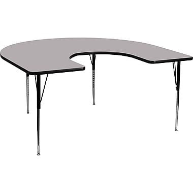 Flash Furniture 60''W x 66''L Horseshoe Activity Table with Thermal Fused Laminate Top and Standard Height Adjustable Legs, Grey