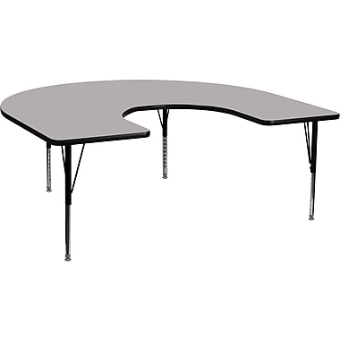 Flash Furniture 60''W x 66''L Horseshoe Activity Table with Thermal Fused Top and Height Adjustable Pre-School Legs, Grey