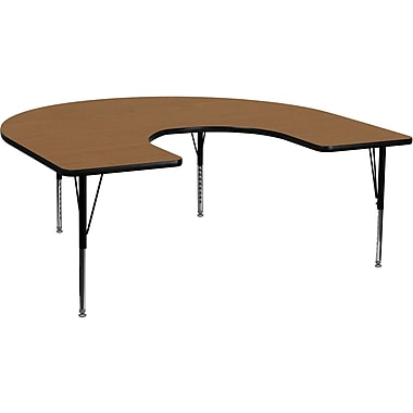 Flash Furniture 16 1/8 - 25 1/8H x 60W x 66D 16 Gauge Tubular Steel Horseshoe Activity Table, Oak