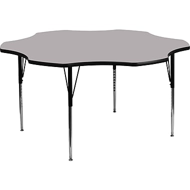 Flash Furniture 60'' Flower Shaped Activity Table with Thermal Fused Laminate Top and Standard Height Adjustable Legs, Grey