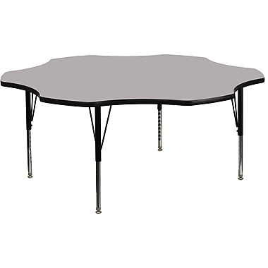 Flash Furniture 60'' Flower Shaped Activity Table with Thermal Fused Laminate Top and Height Adjustable Pre-School Legs, Grey