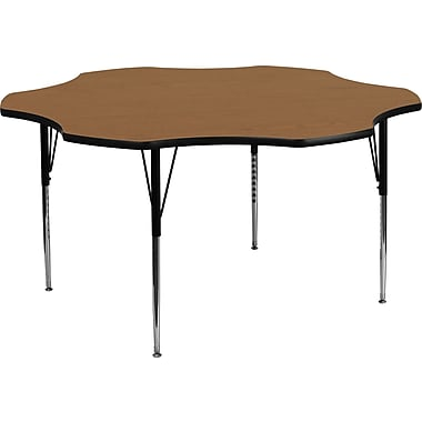 Flash Furniture 21 1/8'' - 30 1/8'' H x 60'' W x 60'' D Steel Flower Shaped Activity Table, Oak