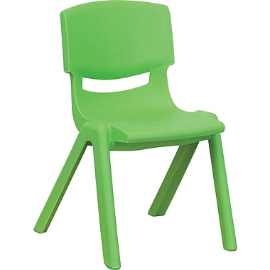 Flash Furniture Plastic Stackable School Chair with 12'' Seat Height, Green