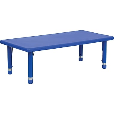 Flash Furniture 14 1/2in. - 23 3/4in. H x 24in. W x 48in. D Plastic Rectangular Activity Table, Blue