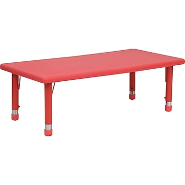Flash Furniture 24''W x 48''L Height Adjustable Rectangular Plastic Activity Table, Red