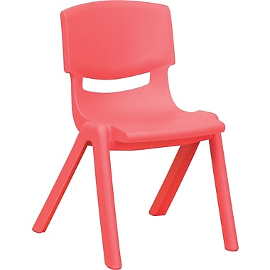 Flash Furniture Plastic Stackable School Chair with 12'' Seat Height, Red