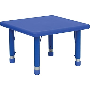 Flash Furniture 14 1/2in. - 23 3/4in. H x 24in. W x 24in. D Plastic Square Activity Table, Blue