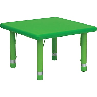 Flash Furniture 24'' Square Height Adjustable Plastic Activity Table, Green