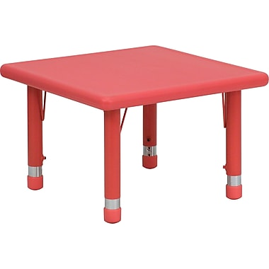 Flash Furniture 14 1/2in. - 23 3/4in. H x 24in. W x 24in. D Plastic Square Activity Table, Red