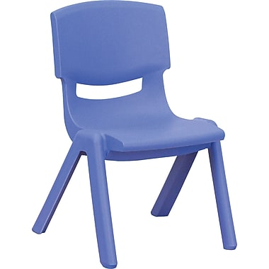 Flash Furniture Plastic Stackable School Chair with 10 1/2in. Seat Height, Blue