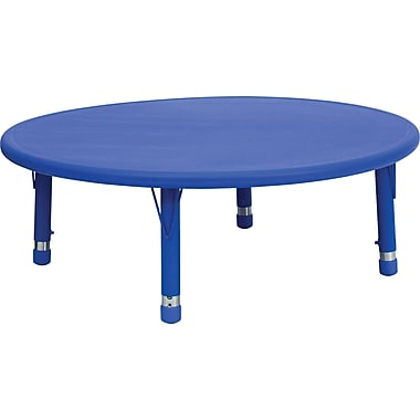 Flash Furniture 45'' Round Height Adjustable Plastic Activity Table, Blue