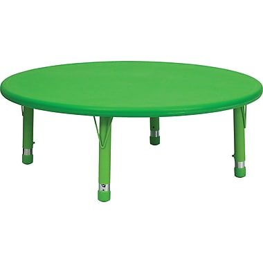 Flash Furniture 45'' Plastic Round Height Adjustable Activity Table, Green
