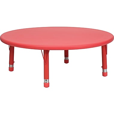 Flash Furniture 45'' Plastic Round Height Adjustable Activity Table, Red