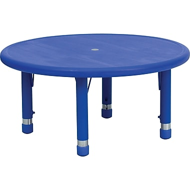 Flash Furniture 14 1/2'' - 23 3/4'' H x 33in. W x 33in. D Plastic Round Activity Table, Blue