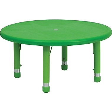 Flash Furniture 14 1/2'' - 23 3/4'' H x 33in. W x 33in. D Plastic Round Activity Table, Green