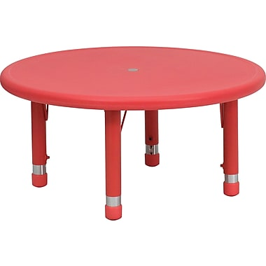 Flash Furniture 33'' Round Height Adjustable Plastic Activity Table, Red